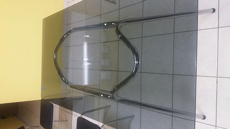 tampo de vidro temperado fumê para mesa com 06 cadeiras